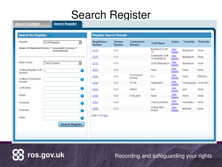 Search Register