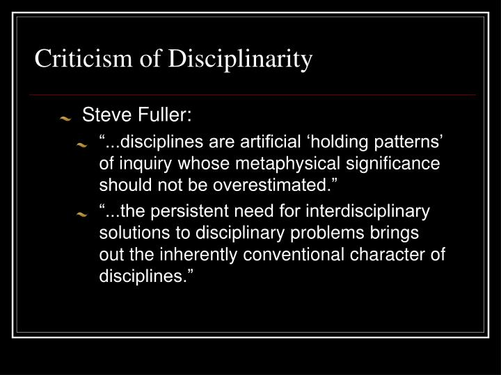 Criticism of Disciplinarity
