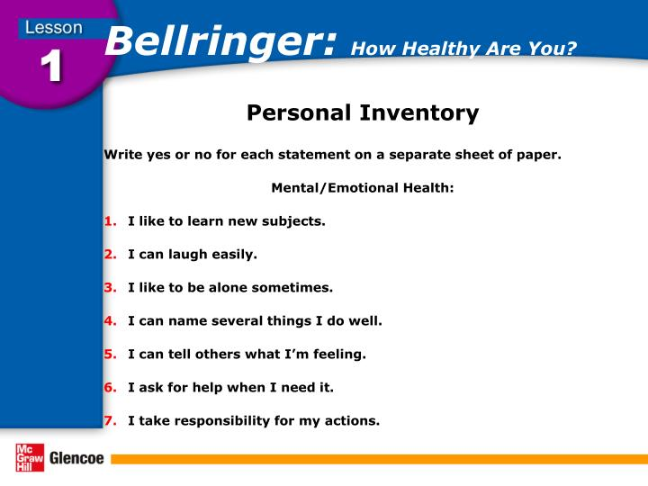 Bellringer how healthy are you1