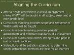 aligning the curriculum