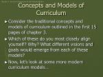 concepts and models of curriculum