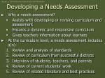 developing a needs assessment