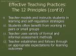 effective teaching practices the 12 principles cont d