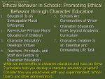 ethical behavior in schools promoting ethical behavior through character education