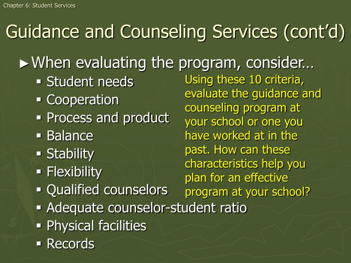 Chapter 6: Student Services