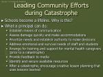 leading community efforts during catastrophe