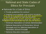 national and state codes of ethics for principals