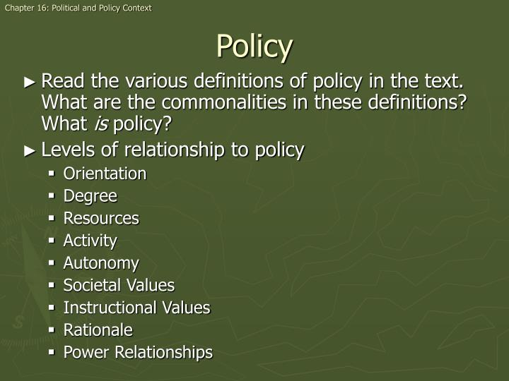 Chapter 16: Political and Policy Context