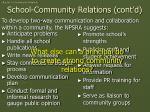 school community relations cont d