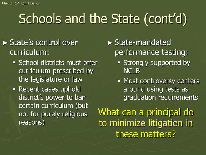State's control over curriculum: