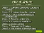 table of contents click chapter title to navigate