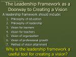 the leadership framework as a doorway to creating a vision
