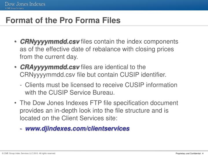 Format of the Pro Forma Files