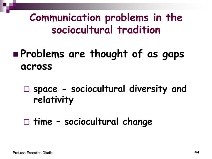 Communication problems in the sociocultural tradition