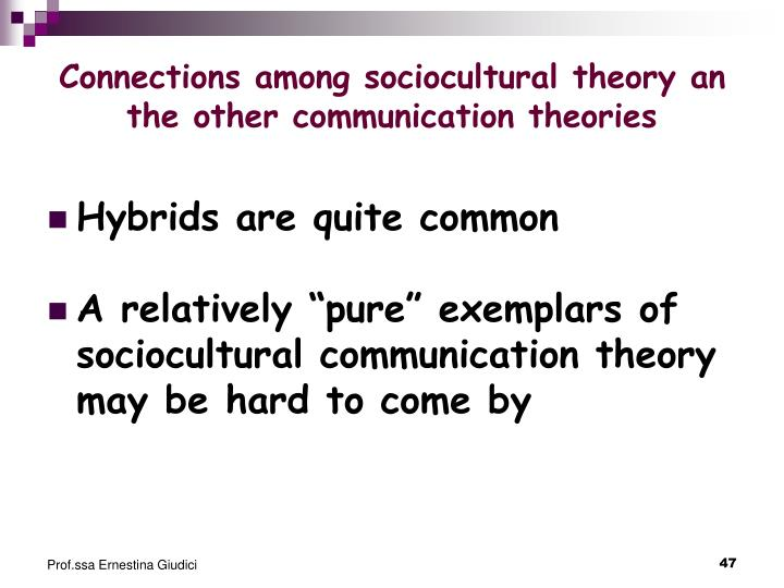 Connections among sociocultural theory an the other communication theories