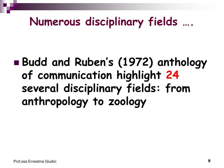 Numerous disciplinary fields ….