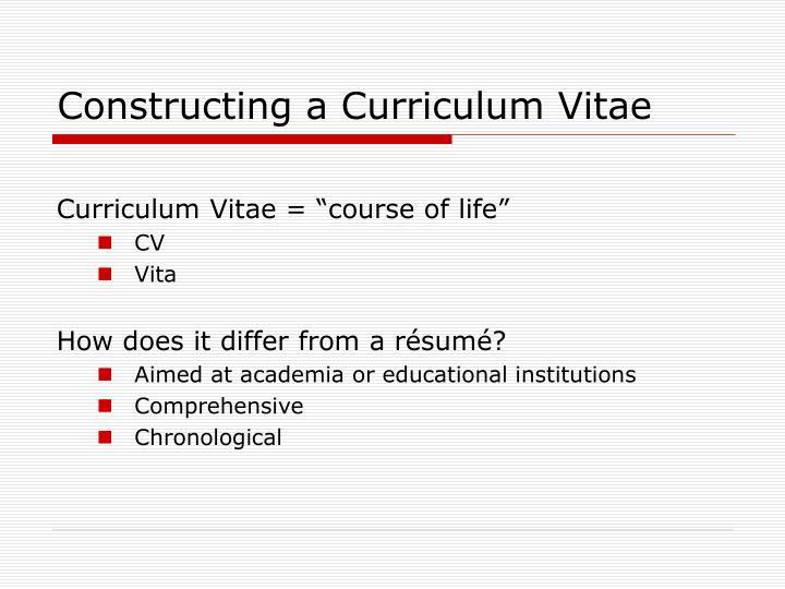 Constructing a Curriculum Vitae