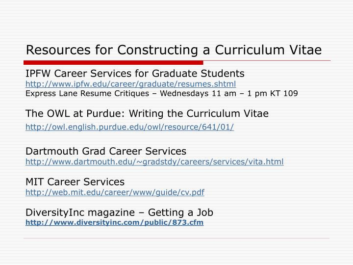 Resources for Constructing a Curriculum Vitae