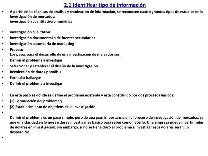 2.1 Identificar tipo de información