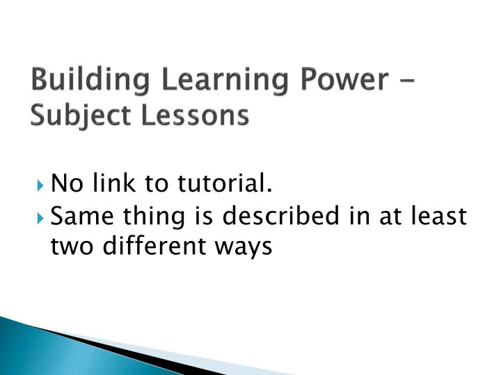 Building Learning