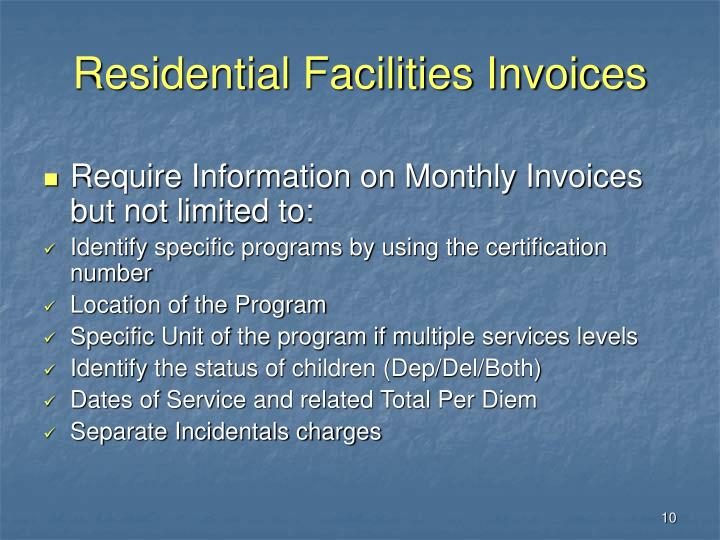 Residential Facilities Invoices