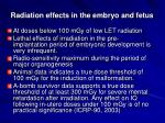 radiation effects in the embryo and fetus