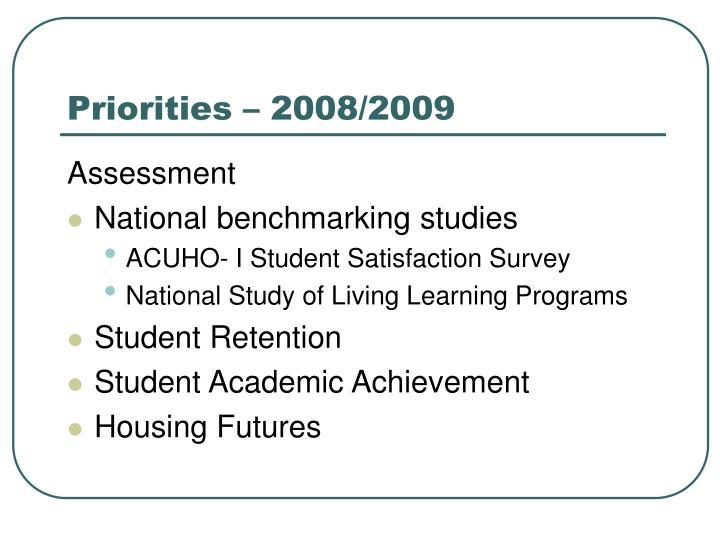 Priorities – 2008/2009