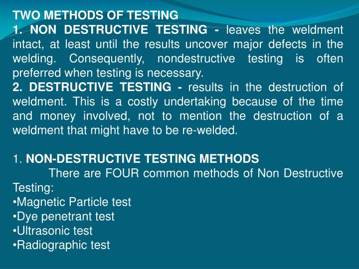 TWO METHODS OF TESTING