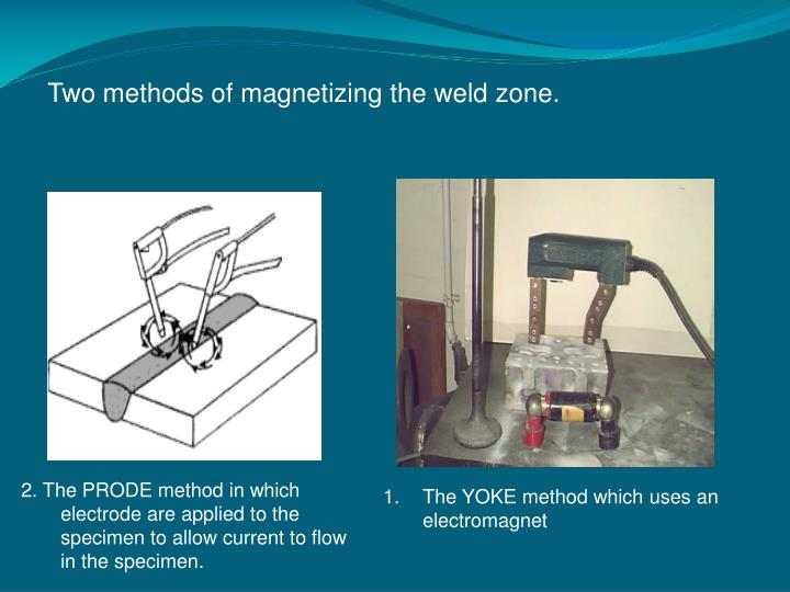Two methods of magnetizing the weld zone.