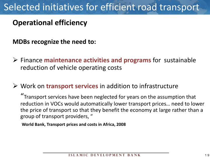 Selected initiatives for efficient road transport