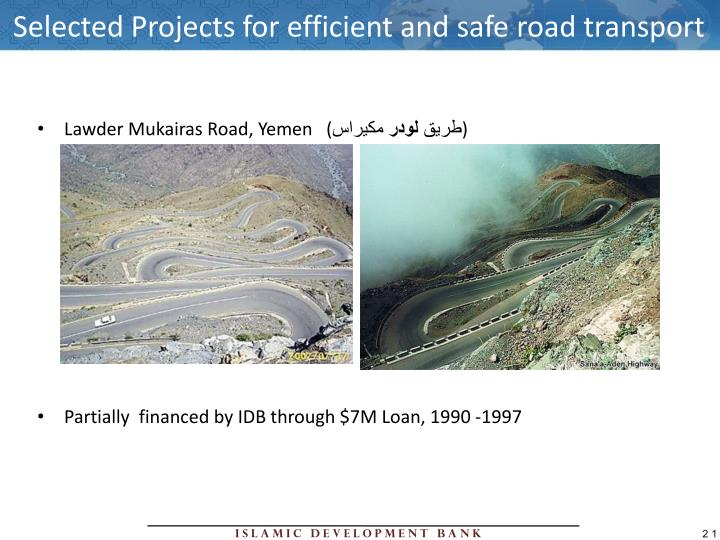 Selected Projects for efficient and safe road transport