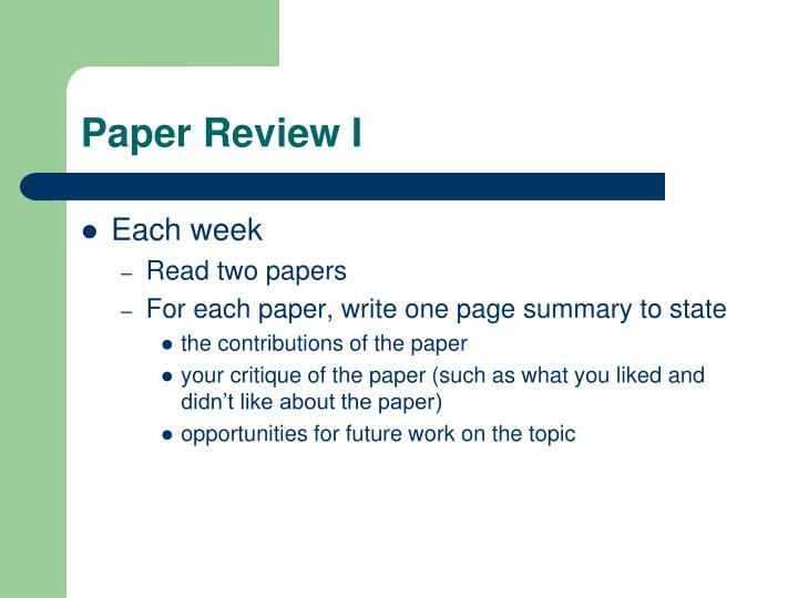 Paper Review I