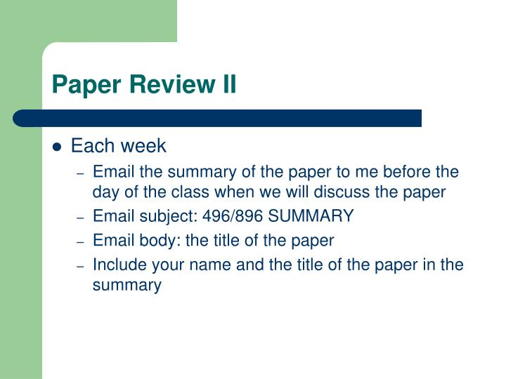 Paper Review II