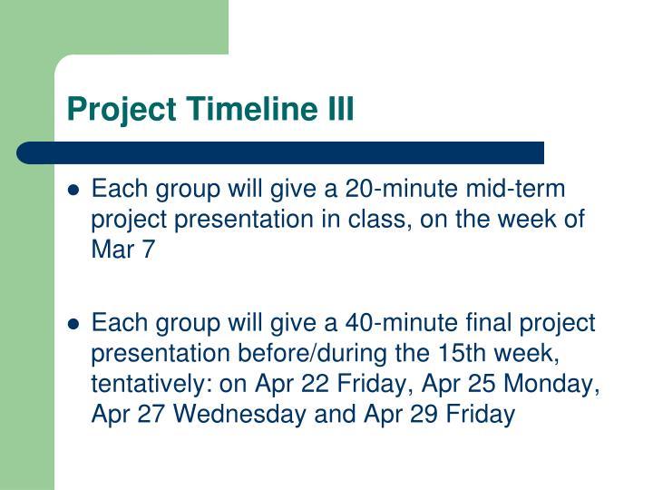 Project Timeline III