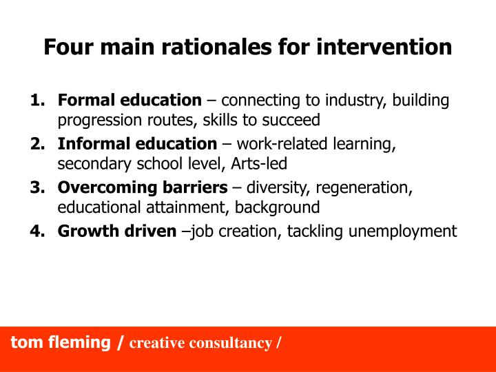 Four main rationales for intervention