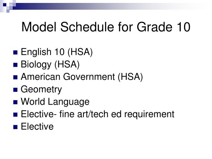 Model Schedule for Grade 10