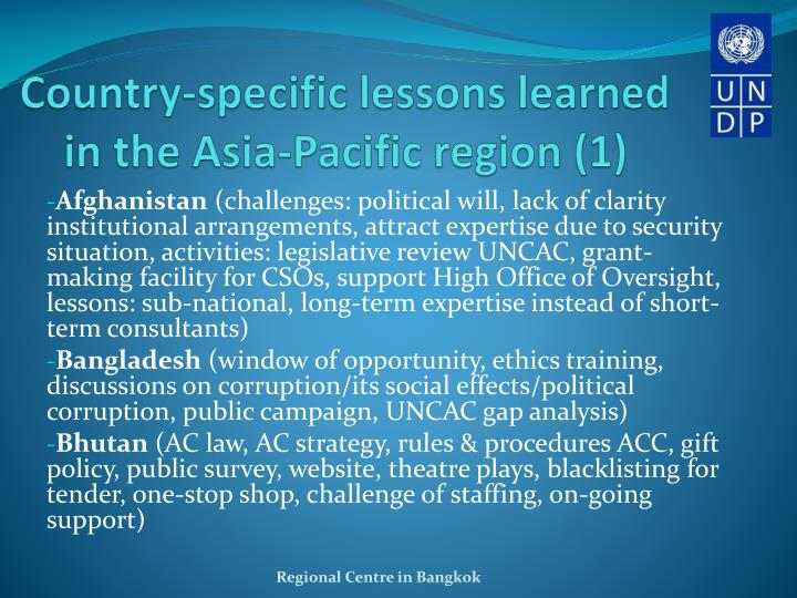 Country-specific lessons learned in the Asia-Pacific region (1)