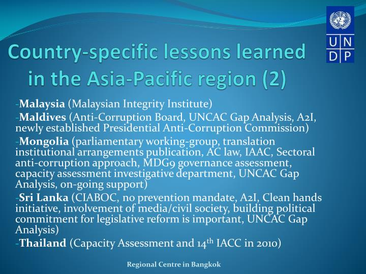 Country-specific lessons learned in the Asia-Pacific region (2)