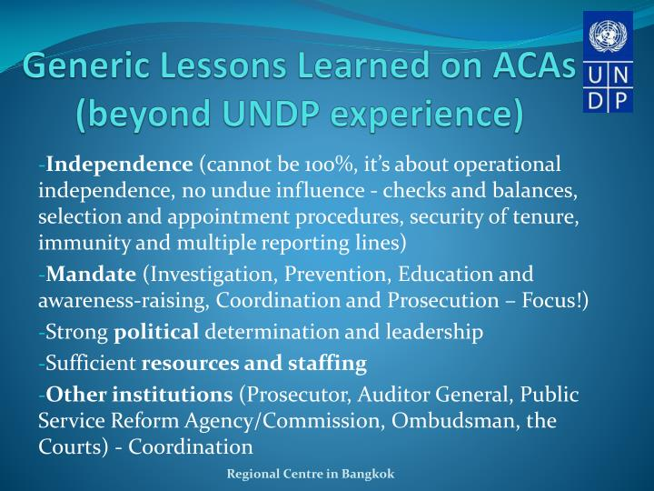 Generic Lessons Learned on ACAs (beyond UNDP experience)