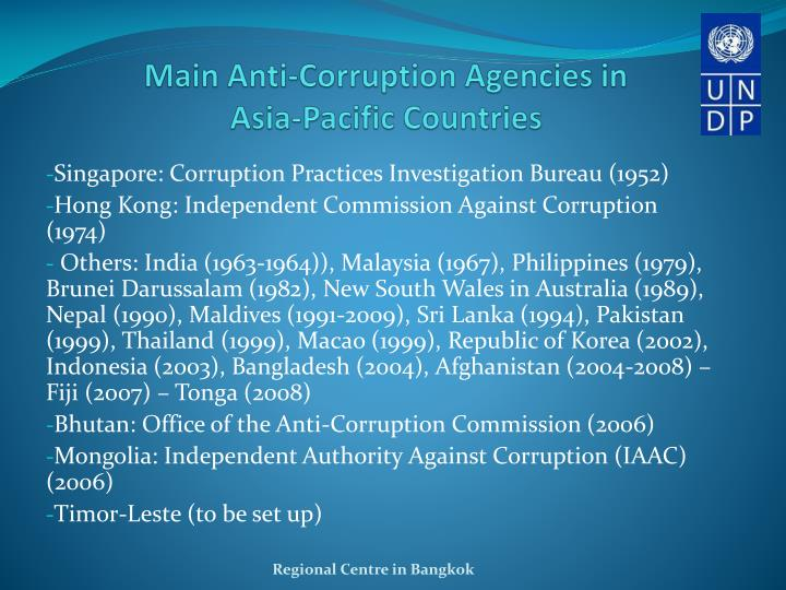 Main Anti-Corruption Agencies in Asia-Pacific Countries