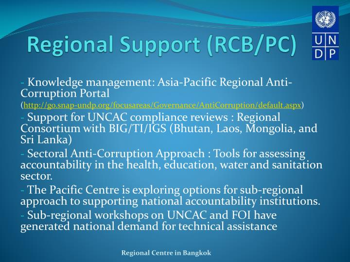 Regional Support (RCB/PC)