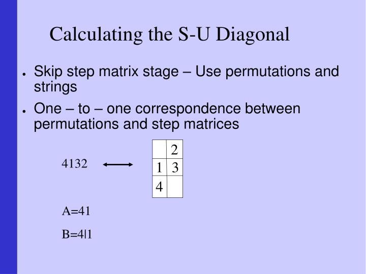 Calculating the S-U Diagonal