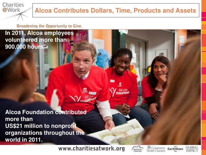 Alcoa Contributes Dollars, Time, Products and Assets