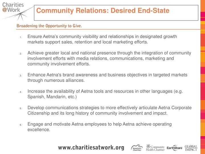Community Relations: Desired End-State