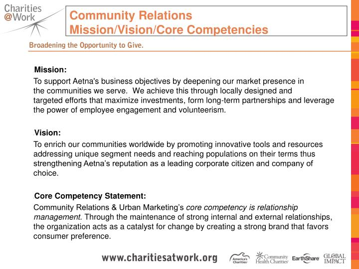 Community relations mission vision core competencies