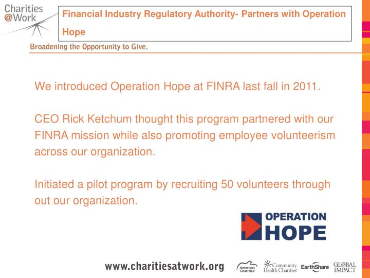 Financial Industry Regulatory Authority- Partners with Operation Hope