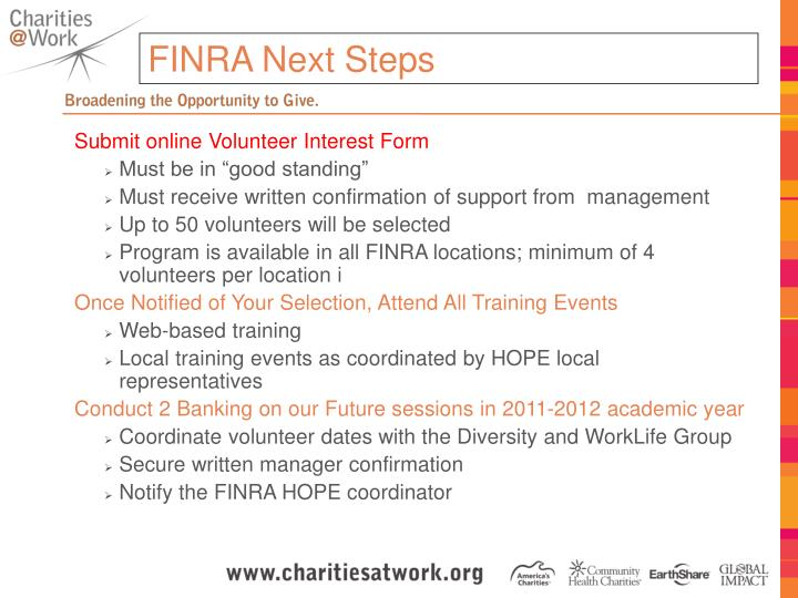 FINRA Next Steps