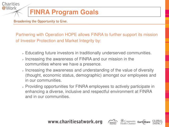 FINRA Program Goals