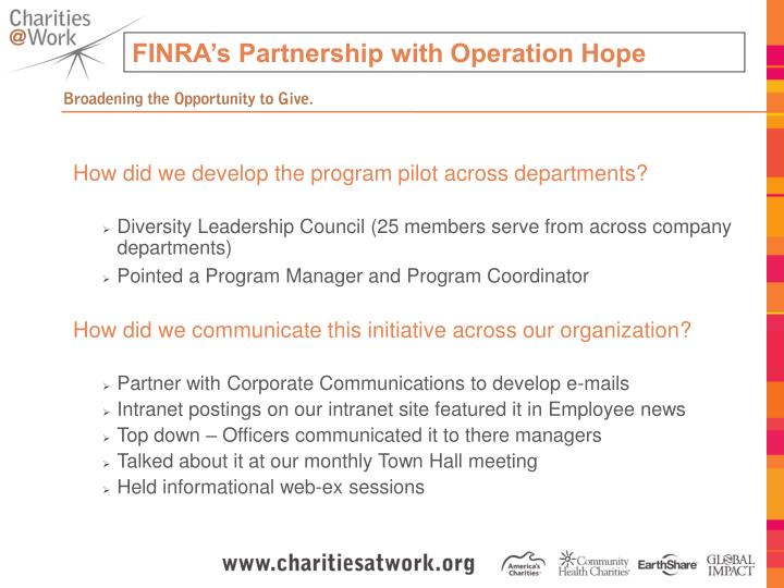 FINRA's Partnership with Operation Hope