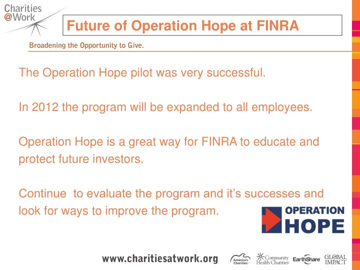 Future of Operation Hope at FINRA